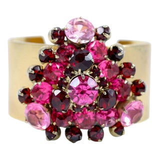 Vendome Cuff With a Cluster of Red and Pink Rhinestones For Sale