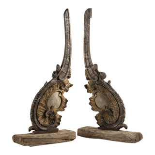 18th Century Baroque Period Painted Overdoor Molding Mounted as Sculpture - a Pair For Sale