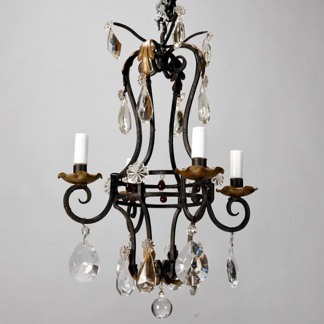 1930's French 4-Light Black Iron & Crystal Chandelier - Image 2 of 4