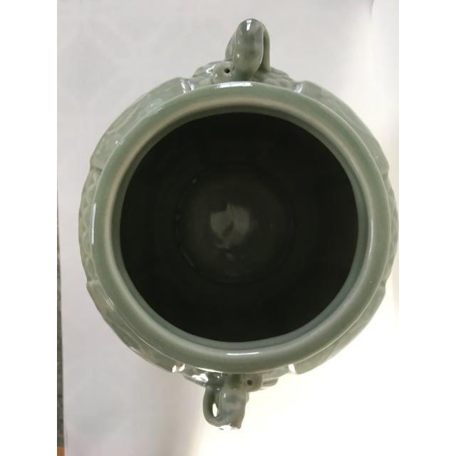 Vintage Two Handled Celadon Ginger Jar/Urn For Sale - Image 6 of 9
