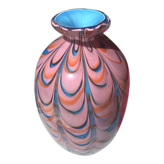 Late 20th Century Hand Blown Murano Style Eclectic Glass Art Vase For Sale