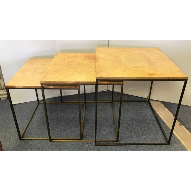 A perfect example of Mid Century Modern form and function! These nesting tables are designed and labeled by the Keno Bros,...