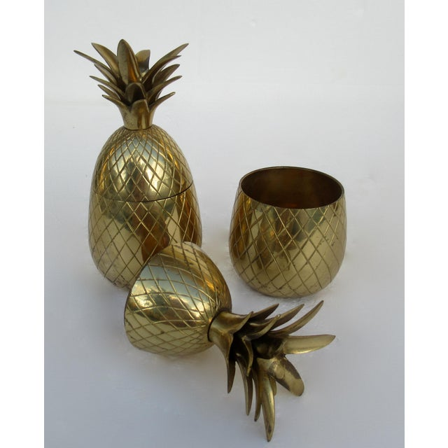 Metal Vintage Brass Lidded Pineapple Containers Dual Candle Holders - a Pair For Sale - Image 7 of 12