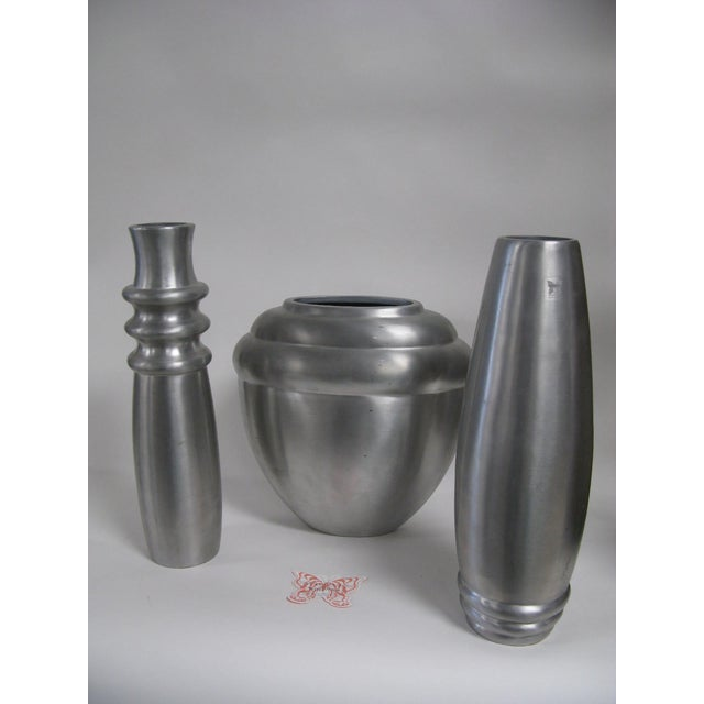 Waterford 2003 Kilbarry Ireland Marquis by Waterford Pewter Vases - Set of 3 For Sale - Image 4 of 13