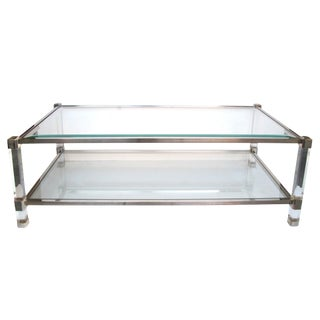 Chic French Pierre Vandel Nickel, Glass and Lucite Rectangular Coffee Table For Sale