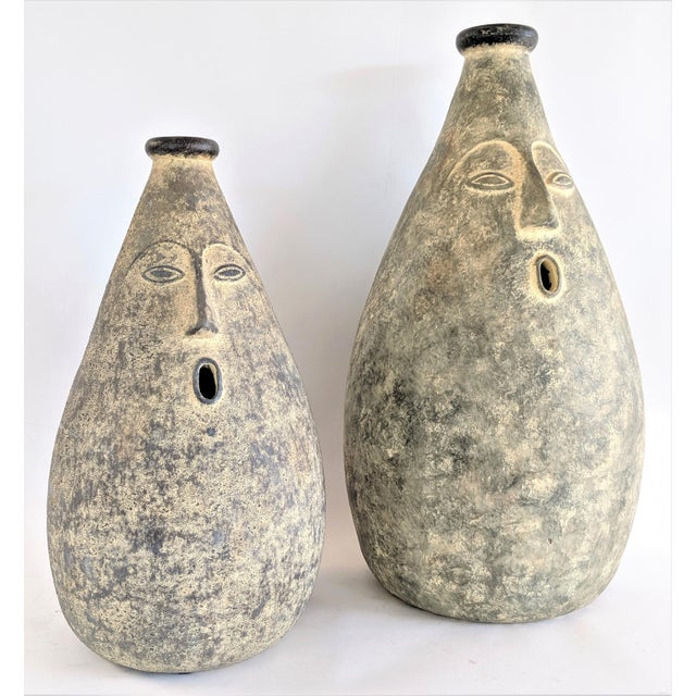 Large Whimsical Ceramic Stoneware Face Vessels - a Pair For Sale - Image 12 of 12