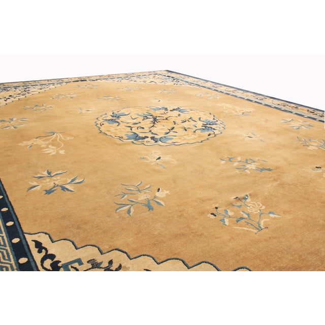Art Deco Antique Peking Traditional Gold and Blue Wool Rug - 9′ × 12′8″ For Sale - Image 3 of 6