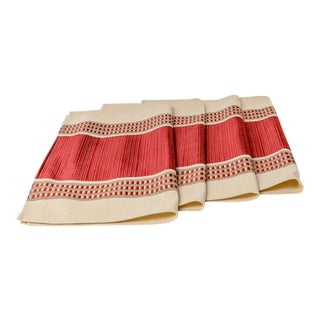 Thai Silk White/Red/Gold Custom Placemats - Set of 4 For Sale