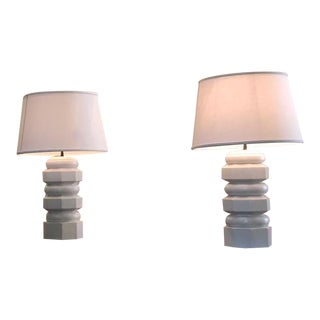 Contemporary Wooden Table Lamps - a Pair For Sale