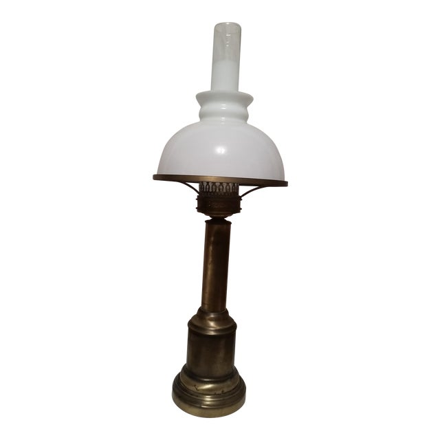 French Country Glass & Brass Table Lamp - Image 1 of 7