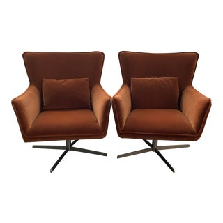Jacob Swivel Chairs by Four Hands in Soft Velvet Sienna - a Pair For Sale