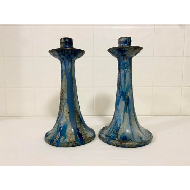 1920s Art Deco Drip Glaze Roger Guerin Candelabras - a Pair For Sale - Image 13 of 13