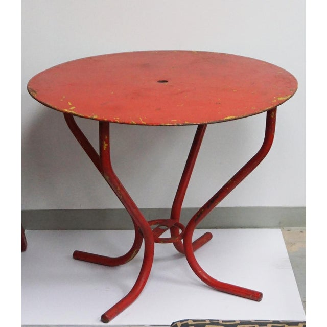 Metal Vintage Red French Bistro Table For Sale - Image 7 of 7