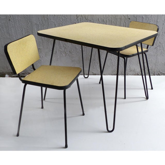 1950s Child S Table Chairs W Hairpin Legs Set Of 3 Chairish