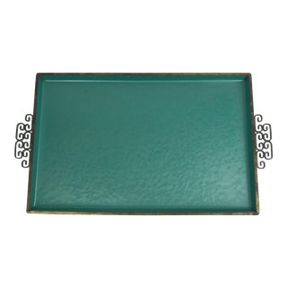Vintage Mid-Century Handmade Kyes Serving Tray in Teal Moire Glaze