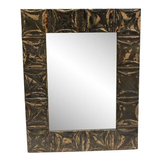 Brown & Tan Antique Square Pattern Mirror For Sale