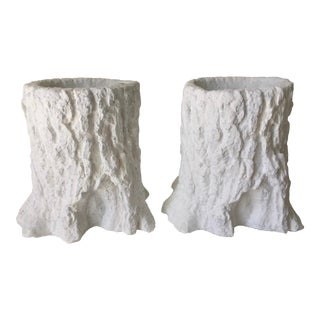 2 Vintage Faux Bois Cement Planters For Sale