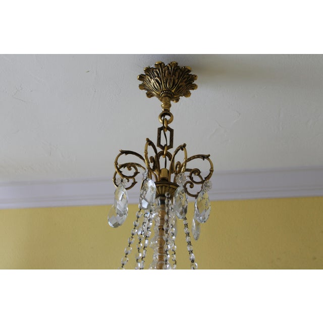 Neoclassical 19th Century Maison Bagues Palm Motif Eight Light Crystal & Bronze Chandelier = Neoclassical Style For Sale - Image 3 of 13