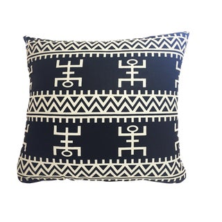 """African Custom Made Black and White Kente Cloth Pillow 20.5"""" by 19"""" For Sale"""
