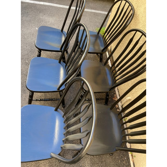 Set of 6 Black Stained Windsor Chairs For Sale - Image 10 of 12