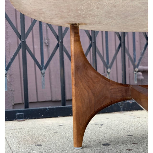 Rose Marble Top With Walnut Base Coffee Table For Sale - Image 11 of 13