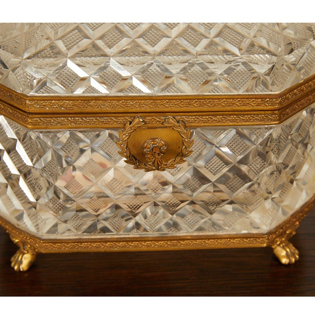 French Crystal Casket Box For Sale - Image 4 of 8