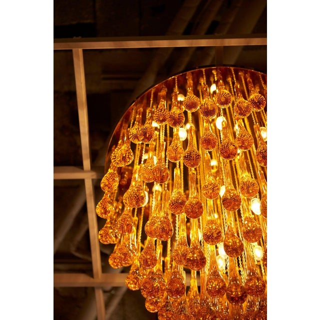 Monumental Brass and Murano Glass Tear Drop Flush Mount Attr. To Barovier & Toso For Sale - Image 9 of 13