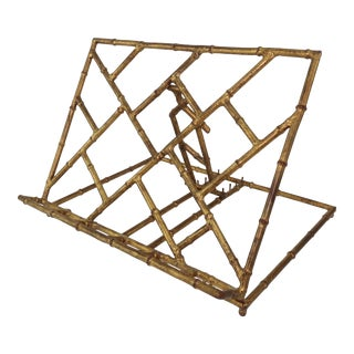 Italian Gilt Metal Faux Bamboo Book Stand For Sale