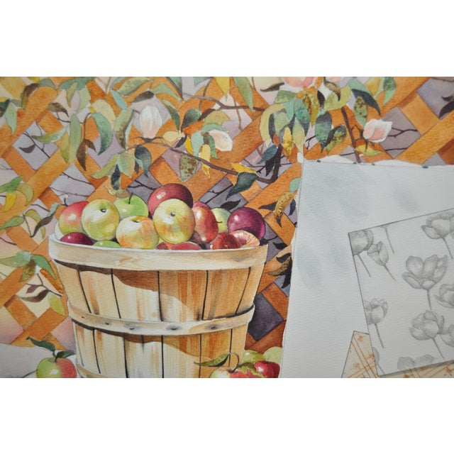 Beautiful still life c.1970s with a basket of apples next to a trellis of roses, with an artists easel and brushes next to...