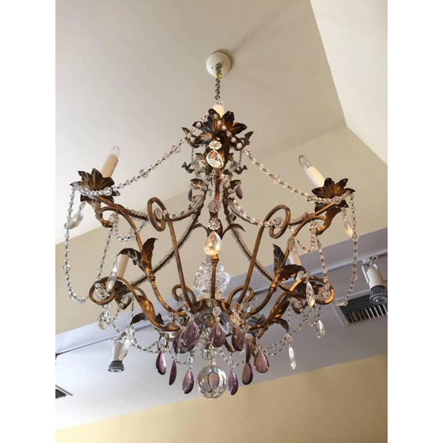 Very elegant Italian (Venice) gilt iron, tole and crystal six-light chandelier. Has been wired for U.S. Circa 1880.