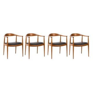Hans Wegner for Johannes Hansen Oak & Black Leather Armchairs - Set of 4 For Sale