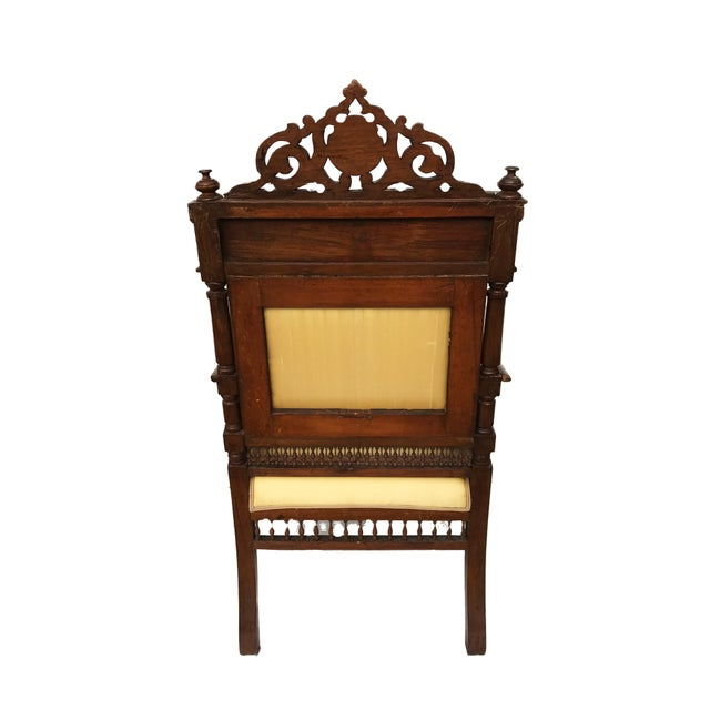 Museum Piece 19th C Middle Eastern Armchair W/Mother Pearl For Sale - Image 4 of 10