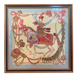 Professionally Framed Hermes 100% Silk Scarf For Sale