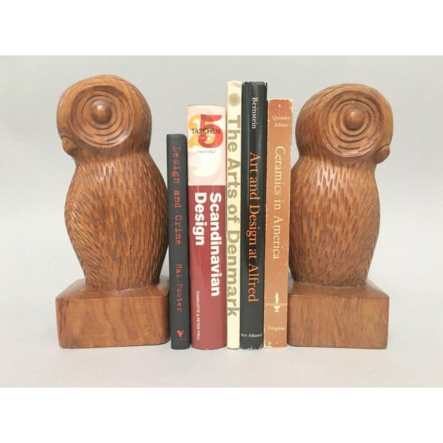 Hand Carved Wood Owl Bookends - a Pair For Sale - Image 5 of 7
