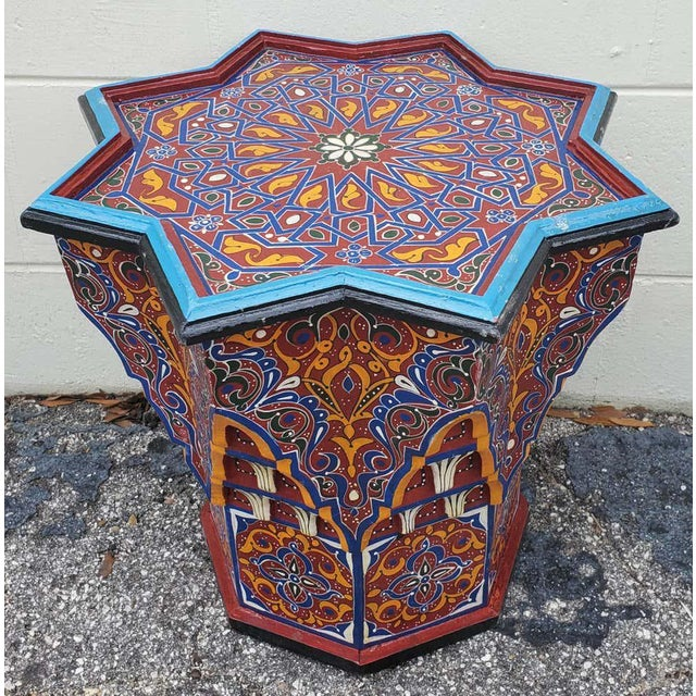 Wood Moroccan Sm Ceuta 1 Painted and Carved Star Table, Multi-Color For Sale - Image 7 of 8