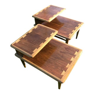 Mid-Century Danish Modern Lane Acclaim Oak & Walnut End Tables - A Pair For Sale