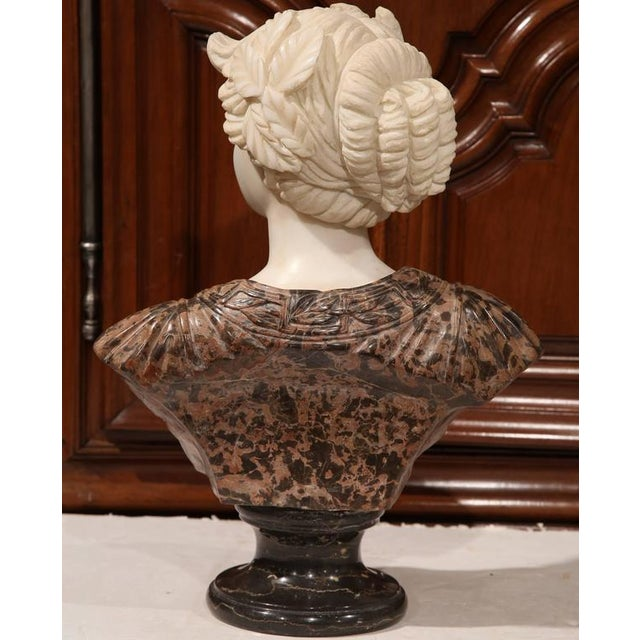 Marble Large 19th Century Italian Carved Marble Bust of Young Lady by Goose For Sale - Image 7 of 7