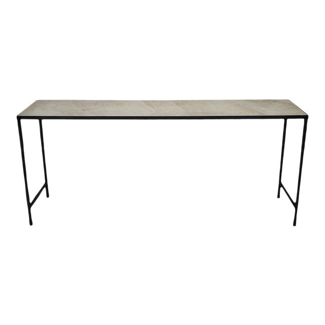 Vintage Modern Marble & Iron Console For Sale