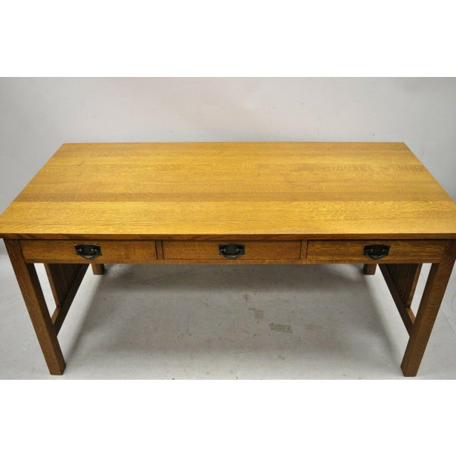 """Stickley Mission Collection Fayetteville Oak 66"""" Spindle Library Office Desk. Item features solid wood construction,..."""