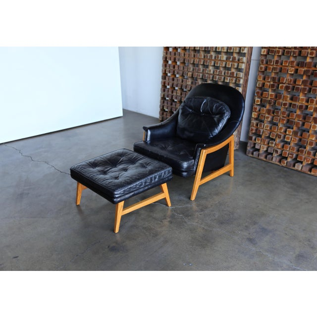 Brown Edward Wormley for Dunbar Leather Lounge Chair and Ottoman Circa 1957 For Sale - Image 8 of 13