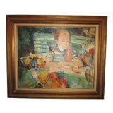 Image of 1980s D. Hristoff Signed Girl at Table Oil Painting For Sale