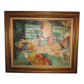 1980s D. Hristoff Signed Girl at Table Oil Painting For Sale