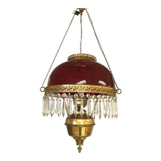 Vintage Ruby Glass and Crystal Chandelier For Sale