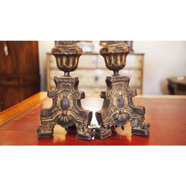 Louis XIV Louis XIV Style Tole Candlesticks For Sale - Image 3 of 11