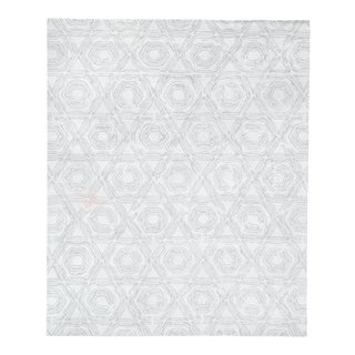 Exquisite Rugs Melbourne Hand Loom Wool & Cotton Silver - 12'x15' For Sale