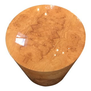 Olive Wood Mid Century Drum Style Table/Base Milo Baughman Attributed. For Sale
