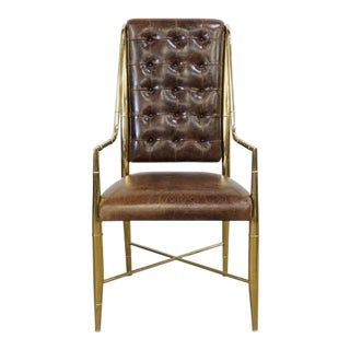 Mastercraft Faux Bamboo and Leather Chair For Sale