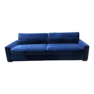 Restoration Hardware Blue Velvet Sofa For Sale