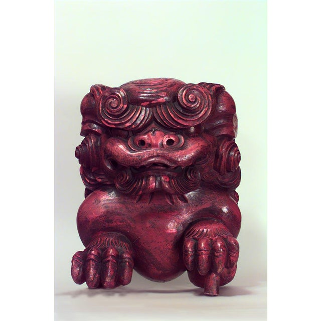 Asian Asian Chinese Style Red Lacquered Carved Figures of Squatting Foo Dogs- A Pair For Sale - Image 3 of 4