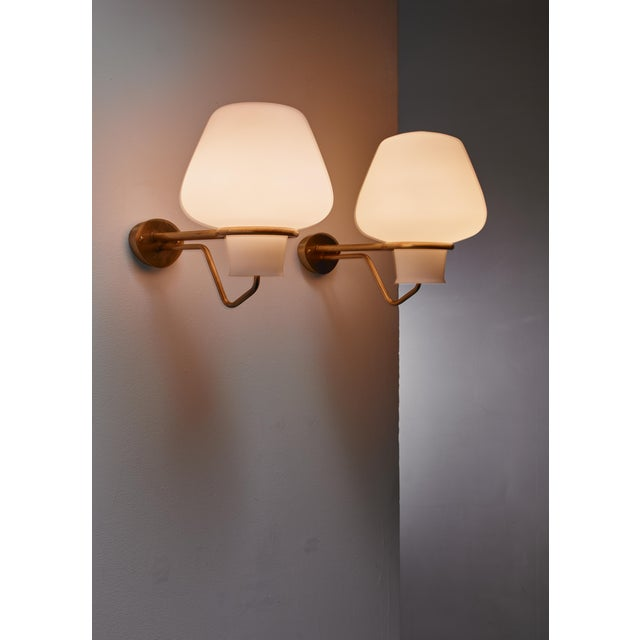 1950s Gunnar Asplund Pair of Brass and Opaline Glass Sconces, Sweden, 1950s For Sale - Image 5 of 5